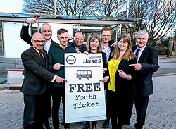 Scottish Greens, Free Bus Travel, 27 February<br /> <br /> Ahead of the budget debate this afternoon, Scottish Greens Parliamentary Co-Leaders Alison Johnstone MSP and Patrick Harvie MSP along with the Green MSP group staged a photocall outside the Scottish Parliament to celebrate their free bus travel for under 19s budget win.<br /> <br /> The Scottish Greens yesterday announced that a deal had been struck on free bus travel, more money for councils, extra resource for community safety and an additional £45 million package to tackle fuel poverty and the climate emergency.<br /> <br /> Pictured:  Patrick Harvie MSP and Alison Johnstone MSP are joined by their group at a bus stop outside the Scottish Parliament<br /> <br /> Alex Todd   Edinburgh Elite media