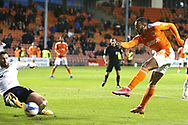 Oxford United midfielder Anthony Forde (14) blocks the shot from Blackpool forward Keshi Anderson (8) during the EFL Sky Bet League 1 match between Blackpool and Oxford United at Bloomfield Road, Blackpool, England on 21 May 2021.