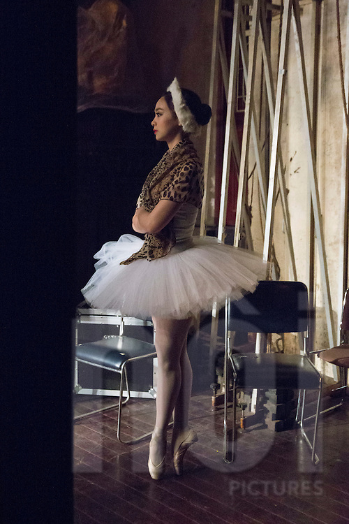 Thu Hue of Vietnam National Opera&Ballet waits in the wings en pointe during a performance of Swan Lake at the Hanoi Opera House, Vietnam, Southeast Asia