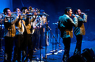 Mexican brass band Banda Estrellas de Sinaloa de German Lizarraga, live at the Barbican with Serbian brass band Boban and Marko Markovic Orchestra ('Brass Band Battle: Mexico vs The Balkans'). La Linea Festival, London, UK (14 April 2013)