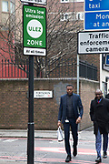 Sign for the new Ultra Low Emission Zone, also known as ULEZ on April 8, 2019 in London, United Kingdom. Transport for London are using this pollution reduction initiative to improve air quality, by charging more polluting vehicles such as diesel and older vehicles to enter the ULEZ zone, which currently is the same area as the congestion zone.