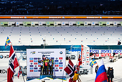 March 9, 2019 - –Stersund, Sweden - 190309  Alexander Loginov of Russia, Johannes Thingnes Bö of Norway and Quentin Fillon Maillet of France celebrate at the podium afte the Men's 10 KM sprint during the IBU World Championships Biathlon on March 9, 2019 in Östersund..Photo: Johan Axelsson / BILDBYRÃ…N / Cop 245 (Credit Image: © Johan Axelsson/Bildbyran via ZUMA Press)