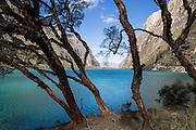 Llanganuco Lakes (Lago Chinancocha, 12,631feet / 3850 meters elevation) in the Cordillera Blanca, Andes Mountains, Peru, South America.