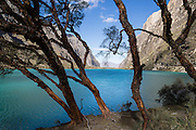 Llanganuco Lakes (Lago Chinancocha, 12,631 feet / 3850 meters elevation) in the Cordillera Blanca, Andes Mountains, Peru, South America.
