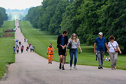 © Licensed to London News Pictures. 01/07/2021. Windsor, UK. Visitors on The Long Walk on a warm day. Next week parts of the UK will see temperatures rise to more than 20 degrees celsius.  Photo credit: Dinendra Haria/LNP