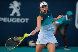 March 23, 2019 - Miami, FLORIDA, USA - Caroline Wozniacki of Denmark in action during her third-round match at the 2019 Miami Open WTA Premier Mandatory tennis tournament (Credit Image: © AFP7 via ZUMA Wire)