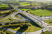 Nederland, Gelderland, Ede, 24-10-2013. Autosnelweg A12, afslag Ede. Carpoolplaats midden.<br /> Motorway A12 near Ede, central Netherlands. <br /> luchtfoto (toeslag op standaard tarieven);<br /> aerial photo (additional fee required);<br /> copyright foto/photo Siebe Swart.