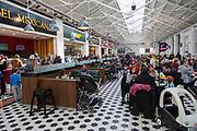 Busy food court area in McArthur Glen designer outlet former railway works, Swindon, Wiltshire, England, UK