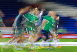 9 October 2017 -  2018 FIFA World Cup Qualifying (Group D) - Wales v Republic of Ireland - Motion blur of Republic of Ireland players during the warm up - Photo: Marc Atkins/Offside