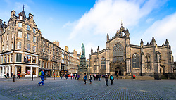 View of Parliament Square and St Giles Cathedral on the Royal Mile in Edinburgh Old Town, Scotland, UK