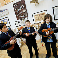 Picture shows: Aaroan Pathak, Conor Fletcher, Harry Daniels of John Paul Academy, Glasgow playing 'THe Paper Boat Song'...GEORGE WYLLIE RETROSPECTIVE: .IN PURSUIT OF THE QUESTION MARK..ARTIST'S LIFE LESS ORDINARY ON SHOW..THE life and work of George Wyllie, MBE, who died in May this year at the age of 90, is the subject of In Pursuit of the Question Mark, which is being curated by his elder daughter, Louise Wyllie...The exhibition is the most comprehensive survey of the internationally renowned Glasgow-born artist's work ever mounted and consists of almost 1000 objects. These range from his earliest drawings made for family when he was serving on HMS Argonaut in The Pacific during the Second World War, to his Cosmic Bunnet, made for his last ever solo exhibition in 2005...Wyllie described himself as a 'scul?tor' because, he said, the question mark should always be at the centre. His ambition as an artist, writer and philosopher was to bring art to the attention of the wider world with an engaging, and often humorous take on his chosen subjects...Some of the artist's earliest sculptural work has also been tracked down. This includes a Bumper Dolphin, made from old car bumpers, dating to the 1960s, and a peacock made from washers and scrap metal...The exhibition also features material which shows the process which led Wyllie to create iconic ephemeral works such as the Straw Locomotive and the Paper Boat...The Whysman Festival received funding from First in a Lifetime/Year of Creative Scotland 2012 to mount this exhibition and project-manage two community based projects; The Big Little Paper Boat Education Initiative which takes in over 90 Clydeside schools and the Big Clyde Question Project involving community groups in Inverclyde...GEORGE WYLLIE RETROSPECTIVE: IN PURSUIT OF THE QUESTION MARK.The Mitchell, North Street, Glasgow, G3 7DN.www.whysman.co.uk.3 November, 2012 - 2 February, 2013.Open Monday-Saturday, 10am-5pm