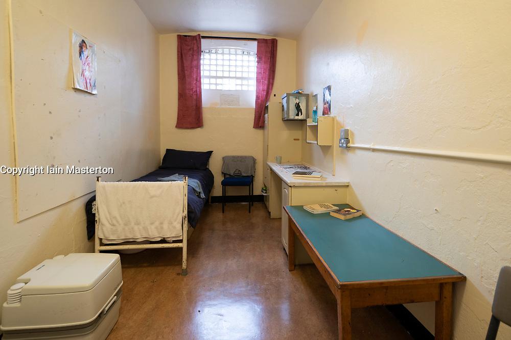 Cell in Segregation Block in prisoner hall at Peterhead Prison Museum in Peterhead, Aberdeenshire, Scotland, UK