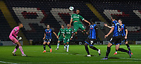 Sheffield Wednesday's Elias Kachunga's header hits the bar<br /> <br /> Photographer Dave Howarth/CameraSport<br /> <br /> Carabao Cup Second Round Northern Section - Rochdale v Sheffield Wednesday - Tuesday 15th September 2020 - Spotland Stadium - Rochdale<br />  <br /> World Copyright © 2020 CameraSport. All rights reserved. 43 Linden Ave. Countesthorpe. Leicester. England. LE8 5PG - Tel: +44 (0) 116 277 4147 - admin@camerasport.com - www.camerasport.com