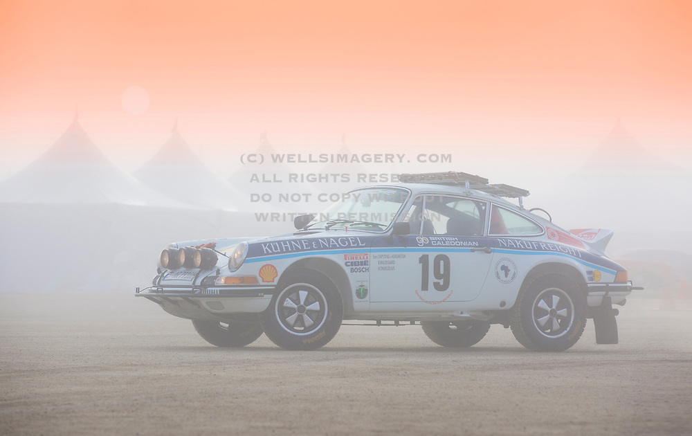 Image of the 1973 Porsche 911 Carrera RS, Race Number 19, which took part in the 1974 East African Rally in Kenya, Africa. Photographed in Monterey, California, American Southwest by Randy Wells