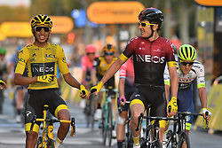 July 28, 2019, Paris, France: Winner Colombian Egan Bernal of Team Ineos wearing the yellow jersey and British Geraint Thomas of Team Ineos celebrate at the arrival of the final stage of the 106th edition of the Tour de France cycling race, from Rambouillet to Paris Champs-Elysees (128km), France, Sunday 28 July 2019. This year's Tour de France starts in Brussels and takes place from July 6th to July 28th. (Credit Image: © David Stockman/Belga via ZUMA Press)