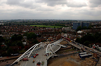 Photo: Daniel Hambury.<br /> Wembley Stadium. 14/06/2006.<br /> The new Wembley Park tube station next to the home of English football, Wembley, seen from the roof of the nearby Ibis hotel.