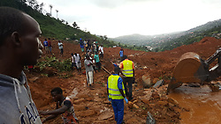 Aug. 15, 2017 - Freetown, Sierra Leone - Mudslide site in Freetown. Sierra Leone needs 'urgent support' now for thousands of people hit by mudslides and massive flooding in the capital, the country's president says More than 300 people have been killed and a mass burial of victims is planned to free up space in mortuaries. (Credit Image: © Liu Yu/Xinhua via ZUMA Wire)