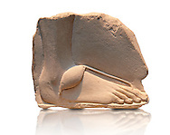 Ancient Egyptian relief study of a foot. 18th Dynasty 1345 BC . Neues Museum Berlin AM 20672. .<br /> <br /> If you prefer to buy from our ALAMY PHOTO LIBRARY  Collection visit : https://www.alamy.com/portfolio/paul-williams-funkystock/ancient-egyptian-art-artefacts.html  . Type -   Neues    - into the LOWER SEARCH WITHIN GALLERY box. Refine search by adding background colour, subject etc<br /> <br /> Visit our ANCIENT WORLD PHOTO COLLECTIONS for more photos to download or buy as wall art prints https://funkystock.photoshelter.com/gallery-collection/Ancient-World-Art-Antiquities-Historic-Sites-Pictures-Images-of/C00006u26yqSkDOM