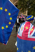 Anti Brexit pro European Union protesters demonstrating in Westminster on 21st October 2019 in London, England, United Kingdom. Brexit is the scheduled withdrawal of the United Kingdom from the European Union. Following a June 2016 referendum, in which 51.9% of participating voters voted to leave.