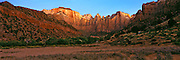 Panorama at sunrise on the Towers of the Virgin and the West Temple in Zion National Park, Utah