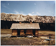 South side (rear) of abandoned RGS section house at Lizard Head.<br /> RGS  Lizard Head, CO  ca. ? + 1953