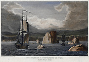 Ship among icebergs in the Arctic. Engraving, 1820