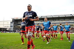 The Bristol Rugby team head for the changing rooms after their warm-up - Photo mandatory by-line: Patrick Khachfe/JMP - Mobile: 07966 386802 27/05/2015 - SPORT - RUGBY UNION - Worcester - Sixways Stadium - Worcester Warriors v Bristol Rugby - Greene King IPA Championship Play-off Final (Second leg)