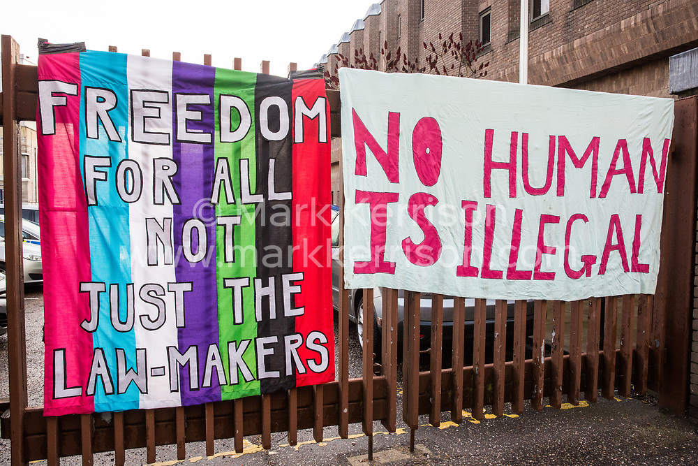 Chelmsford, UK. 6th February, 2019. Banners draped by activists from around the UK gathered to show solidarity with the Stansted 15 before their sentencing at Chelmsford Crown Court. The Stansted 15 were convicted on 10th December of an anti-terrorism offence under the Aviation and Maritime Security Act 1990 following non-violent direct action to try to prevent a Home Office deportation flight carrying precarious migrants to Nigeria, Ghana and Sierra Leone from taking off from Stansted airport in March 2017.