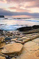 Sunset on Brough Head North Coast of Orkney Islands Mainland Scotland