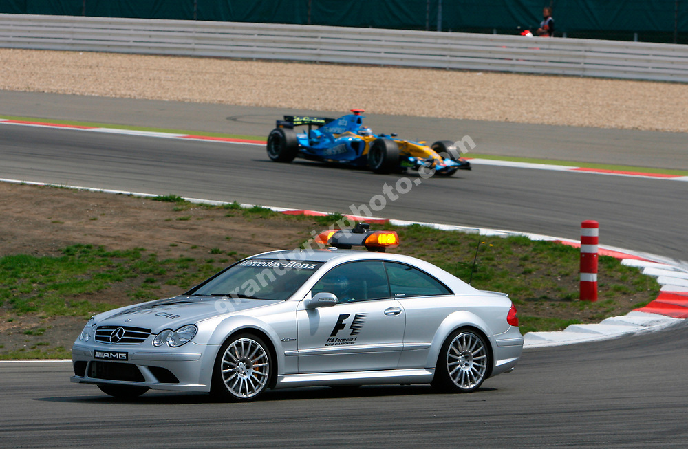 The safety car leads Fernando Alonso (Renault) in the 2006 European Grand Prix at the Nurbrugring. Photo: Grand Prix Photo