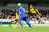 Cardiff City striker Kenneth Zohore (10) heads at goal during the EFL Sky Bet Championship match between Burton Albion and Cardiff City at the Pirelli Stadium, Burton upon Trent, England on 5 August 2017. Photo by Richard Holmes.
