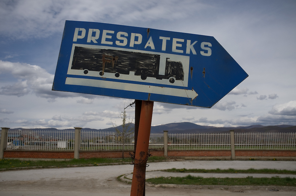 "Sign to old factory ""Prespateks"" in Resen,  FYR Macedonia"
