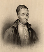 Hector Boece or Boyce (1465-1536) known as the Scottish Boethius.  Scottish philospher born in Dundee. A friend of Erasmus.  First principal of Aberdeen University (1500).  Engraving from 'A Biographical Dictionary of Eminent Scotsmen' by Thomas Thomson (1870).