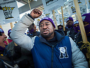 28 FEBRUARY 2020 - MINNEAPOLIS, MINNESOTA: Striking members of the SEIU Local 26 chant during a strike picket at  the Minneapolis St. Paul International Airport. About 4,000 janitorial and custodial workers represented by the Service Employees International Union (SEIU) Local 26 in the Twin Cities are on an Unfair Labor Practices (ULP) strike for better wages and benefits. Friday morning they picketed  the Minneapolis-St. Paul International Airport Friday morning.         PHOTO BY JACK KURTZ