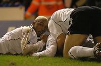 Photo. Glyn Thomas, Digitalsport<br /> Birmingham City v Bolton Wanderers.<br /> Barclays Premiership. 04/01/2005.<br /> Kevin Nolan (C) is mobbed by teammates including El-Hadji Diouf (L) after scoring Bolton's injury time winning goal.