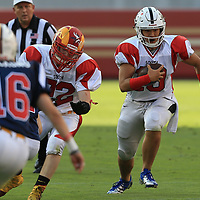 (Photograph by Bill Gerth/ for SVCN/6/24/17) Mitty #10 Phillip Tran moves down field behind the block of Willow Glen #72 Ryan Puccio in the Charie Wedemeyer All Star Game at Levi Stadium, San Jose CA on 6/24/17. (North 13 South 13)