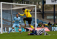 Byron Webster of Millwall with a tackle on Troy Deeney of Watford in the final moments during the FA Cup match at The Den, London<br /> Picture by Liam McAvoy/Focus Images Ltd 07413 543156<br /> 29/01/2017