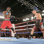 Inka Laley (L) squares off against Eric Pinero during a Telemundo Boxeo boxing match at the A La Carte Pavilion on Friday, March 13, 2015 in Tampa, Florida.  Laley won the bout. (AP Photo/Alex Menendez)
