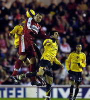 Photo: Jed Wee.<br /> Middlesborough v Arsenal. The Barclays Premiership. 03/02/2007.<br /> <br /> Middlesbrough's Mark Viduka jumps highest to win the ball.