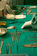 Tatouine hospital, Tunisia. Surgical instruments ready for operation.