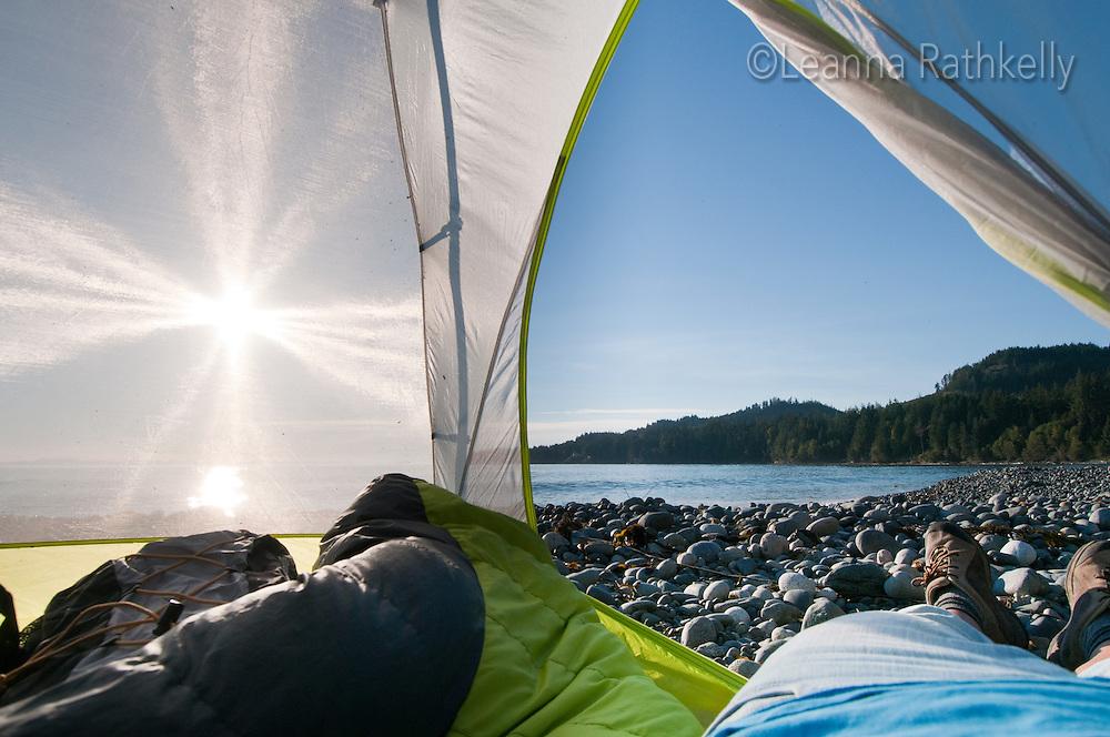 Camping along the Juan de Fuca trail includes ocean-side tent spots next to the ocean.