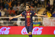 Cesc Fabregas celebrates his own goal against Rayo Vallecano