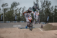 #110 (SMULDERS Laura) NED AND #96 (WALKER Sarah) NZL at the 2014 UCI BMX Supercross World Cup in Santiago Del Estero, Argentina.