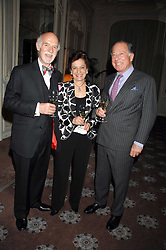 Left to right, MR & MRS ANTON MOSIMANN and SIR JOHN RITBLAT at a dinner to celebrate the launch of the Dom Ruinart 1998 vinatage champage at Claridge's, Brook Street, London W1 on 23rd April 2008.<br /><br />NON EXCLUSIVE - WORLD RIGHTS