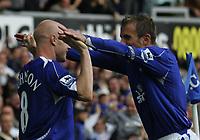 Photo: Andi Thompson.<br />Everton v Manchester City. The Barclays Premiership. 30/09/2006.<br />Everton's Phil Nevillem (R) congratulates Andrew Johnson (L) on his goal.