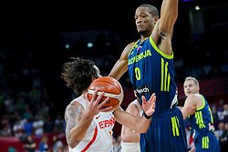 Ricky Rubio of Spain vs Anthony Randolph of Slovenia during basketball match between National Teams of Slovenia and Spain at Day 15 in Semifinal of the FIBA EuroBasket 2017 at Sinan Erdem Dome in Istanbul, Turkey on September 14, 2017. Photo by Vid Ponikvar / Sportida