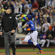 Yoenis Cespedes, New York Mets, celebrates as he watches a two run home run by Travis d'Arnaud during the New York Mets Vs Los Angeles Dodgers, game three of the NL Division Series at Citi Field, Queens, New York. USA. 12th October 2015. Photo Tim Clayton for The Players Tribune