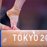 TOKYO, JAPAN - JULY 22: The feet of a gymnast on the balance beam during the Artistic Gymnastics Podium Training at the Ariake Gymnastics Centre in preparation for the Tokyo 2020 Olympic Games on July 22, 2021 in Tokyo, Japan. (Photo by Tim Clayton/Corbis via Getty Images)