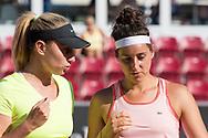 Elena Bogdan and Rosalie Van Der Hoek during the 2019 Swedish Open in Båstad on July 11, 2019. Photo Credit: Katja Boll/EVENTMEDIA.