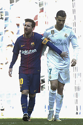 MADRID, Dec. 23, 2017  Real Madrid's Cristiano Ronaldo (R) and Barcelona's Lionel Messi walk side by side at the end of the Spanish La Liga soccer match between Real Madrid and Barcelona at the Santiago Bernabeu stadium in Madrid, Spain, on Dec. 23, 2017. Barcelona beat Real Madrid by 3-0. (Credit Image: © Juan Carlos Rojas/Xinhua via ZUMA Wire)